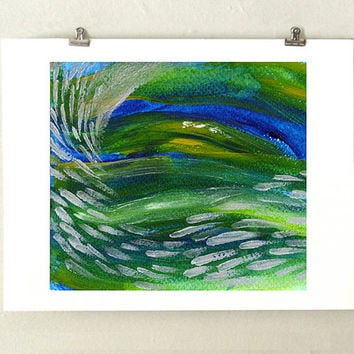 School of Fish Abstract Ocean Art Print - Green, Blue and Silver Archival Art Print from our Original Impressionist Underwater Painting
