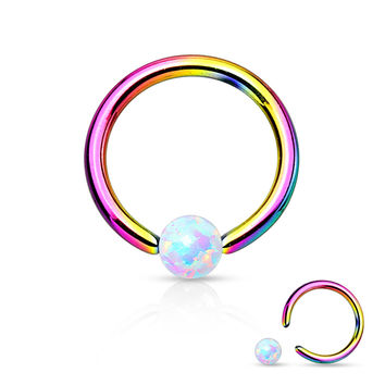 Fire Opal White Captive Hoop Rainbow Cartilage 16ga Tragus Body Jewelry Helix Piercing Jewelry