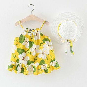 2pcs Toddler Baby Kids Girls Summer Floral Ruched Princess Dress+Hat Clothes Set