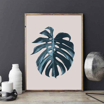 Monstera Leaf Print, Botanical Print, Wall Decor, Minimal Wall Art, Watercolor Art, Plant Illustration, Tropical Leaf Poster, Nordic Design.