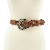 Miss Me Braided Leather Belt - Brown