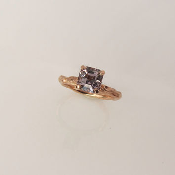 Twig Ring 14k Rose Gold 14k White Gold Palladium or Yellow Gold Handmade Twig Engagement Ring Gemstone Sold Separately