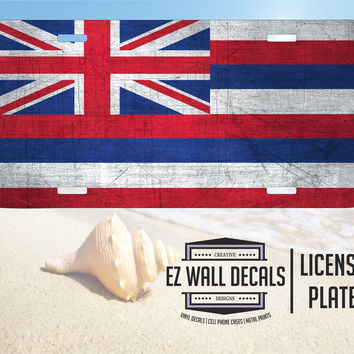 Hawaii State Flag Distressed Aluminum License Plate