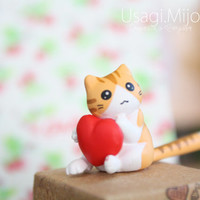 SALE30-70%OFF: Cute orange cat with heart iPhone Plug . Dust Plug . Phone Plug . Phone Charm Cats, Kawaii, Lovely, Girly, Cat