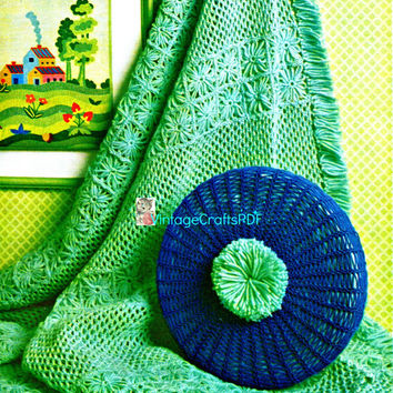 1970s Aqua Afghan and Round Pompon Pillow-Vintage Crochet Pattern-Flower Loom-Picot and Fringe Afghan-Blanket Pillow Set-Vintage Crafts PDF