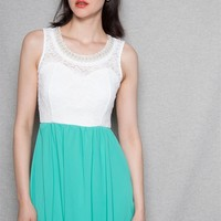 Style Rack Sleeveless Lace Combo Dress With Beaded Neckline - Mint