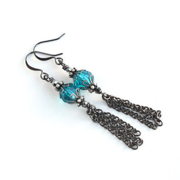 Teal crystal boho earrings, boho tassel earrings, Swarovski earrings, bohemian earrings, tassel earrings, gunmetal jewelry, boho jewelry