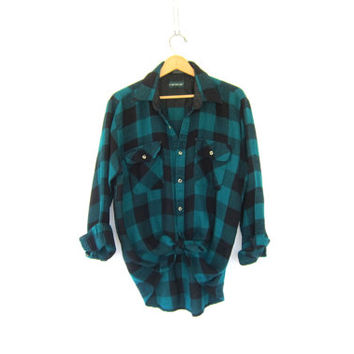20% OFF SALE Vintage green and black CAMPUS  Buffalo check Plaid Flannel / Grunge Shirt / Button up shirt