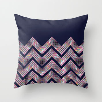 Floral Chevron - Navy  Throw Pillow by Michelle Nilson