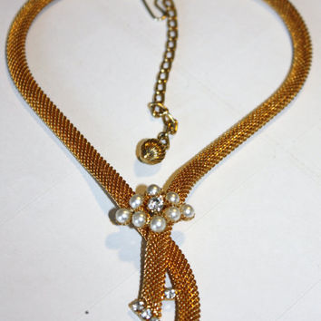 Vintage Mesh Pearl Rhinestone Necklace by patwatty on Etsy