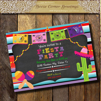 Sale Mexican FIESTA PARTY Birthday Party Invitation Chalkboard Papel Picado invitation Tex Mex Invitation Gender Neutral Mexican colors