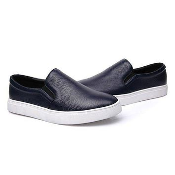 Big Size Men Leather Breathable Pure Color Casual Slip On Sport Flat Loafers