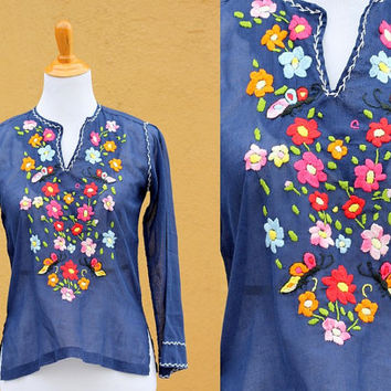 Vtg 70's Floral Sheer Peasant Blouse Navy Embroidery Size 6 Sheer Vibrant Flowy Loose v-neck Mexican Small Medium