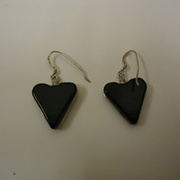 Designer Fashion Earrings Heart Drop/Dangle Faux Gemstone Female Adult Black/Blue -- Preowned
