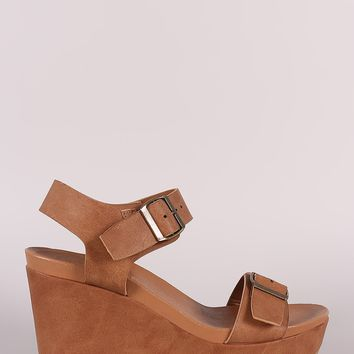 Leather Double Buckle Open Toe Wedge