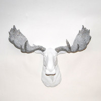 Faux Moose - The Theodora - White w/ Silver Glitter Antlers Resin Moose Head- Moose Resin Faux Taxidermy- Chic & Trendy