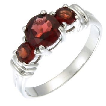 1.20 Carats 3 Stone 6 MM 1.20 CT Garnet Ring Sterling Silver