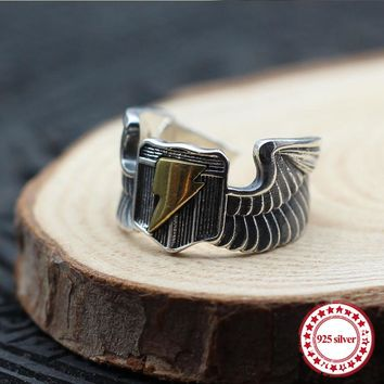 925 Sterling Silver & Brass Eagle Ring