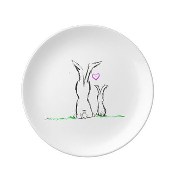 Decorative Porcelain Plate Two Sweet Bunnies