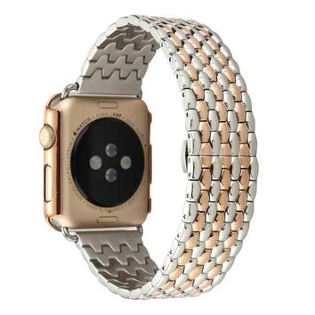 Black Silver Rose Gold Stainless Steel Watch Band Strap for Apple Watch 42mm 7 Bead Metal Men Wristwatch Bracelet I181.