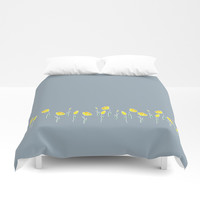 Row of yellow tulips on dusk blue. Duvet Cover by Siret
