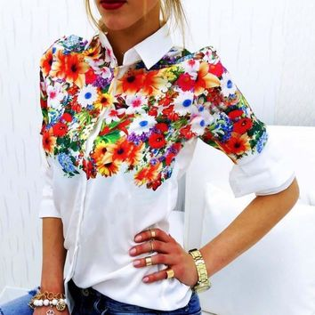 Flower Print Turn Down Collar Long Sleeves Slim Blouse