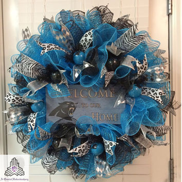 Carolina Panthers Welcome To Our Home Ruffle Deco Mesh Wreath