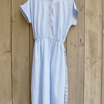 Vintage dress | Chambray cotton shirt dress