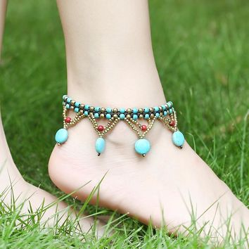 New Arrival Gift Jewelry Ladies Cute Sexy Shiny Stylish Accessory Turquoise Bohemia Beach Anklet [1292354519107]