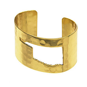 Rustic Cuff Oklahoma State Map Cut-Out Cuff Bracelet - Gold