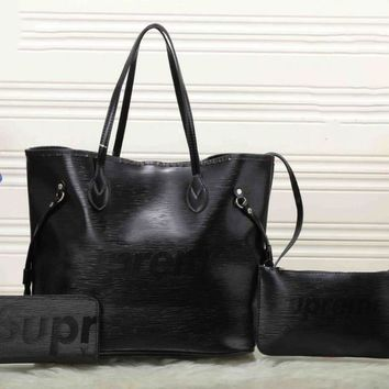 Supreme X LV Fashion Women Shopping Leather Tote Handbag Shoulder Bag Three Piece Blac