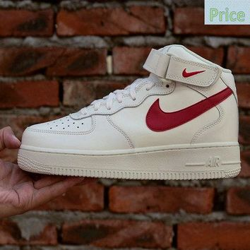 fashion shoes 2018 Nike Air Force 1 Mid Sail University Red Mens Skate Sneaker 315123-126 sneaker