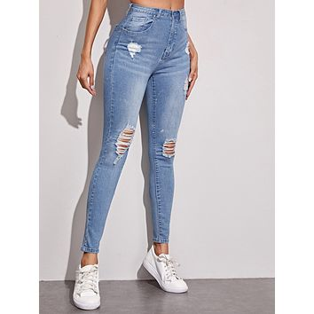 Bleached Wash Ripped Skinny Jeans