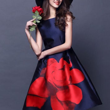 Navy Blue Sleeveless Red Floral Printed Midi Flare Dress