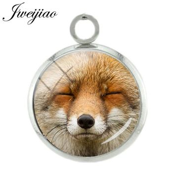 JWEIJIAO 12mm Cute Animal Dog Fox Wolf Face Pendant Glass Cabochon Image Dome Charms For Necklace Earrings DIY Jewelry CN725