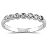 1/10 Carat Diamond Wedding Band in 10K White Gold