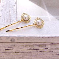 Hair pin, Gold hair pin, , Pearl hair pin, Pearl hair piece pins, Hair accessories, Bridal accessories, 2 pcs