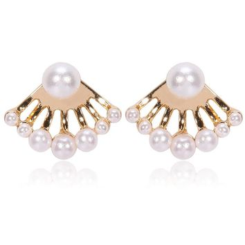Gum Tee Mise en Style Tribal Earrings - Multiple White Pearl White