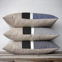 Black & White Chambray Striped Pillows - Modern Home Decor by JillianReneDecor (Custom Colors Available)
