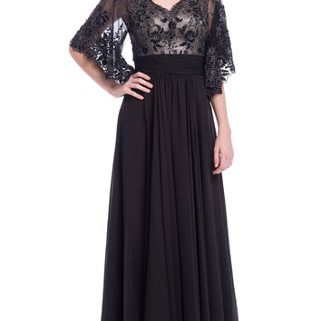 Lace Bell Sleeve Mother of the Bride Dress