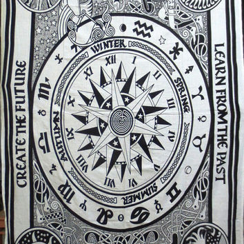 Zodiac, Horoscope, Star Sign, Astrology Tapestry throw, Wall Hanging, Tapestry MANDALA, Art, Meditation