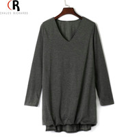 Dark Grey Deep V Neck High Low Fall Loose Mini Dress Long Sleeve Casual Pleated Front 2016 Spring Summer Women Clothing