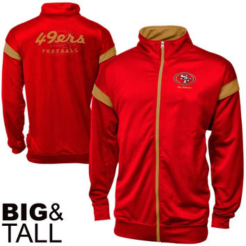 San Francisco 49ers Big & Tall Full Zip Track Jacket - Scarlet/Gold