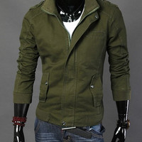 Army Green Stand Collar Multi-Pocket Long Sleeve Jacket