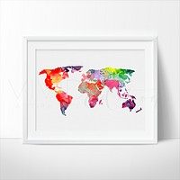 World Map 3 Watercolor Art Print