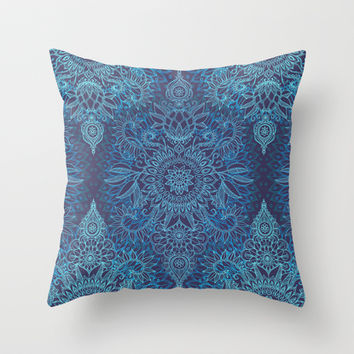 Aqua, Cobalt Blue & Purple Protea Doodle Pattern Throw Pillow by Micklyn