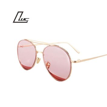 Vintage Round Sunglasses Reflective Coating Glasses Fashion Women Brand Designer Sunglasses Metal Frame Oculos De Sol