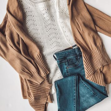 Elise High Low Cardigan - Camel