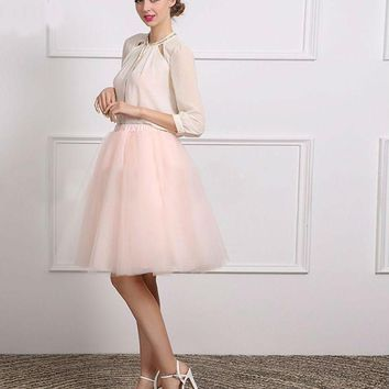 Sexy White Chiffon Pink Tulle A Line Three Quarter Short Cocktail Dress Knee-Length Party Dress
