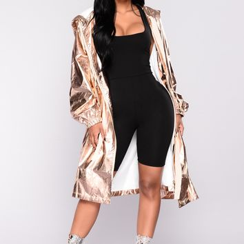 Demand Your Attention Metallic Jacket - Rose Gold